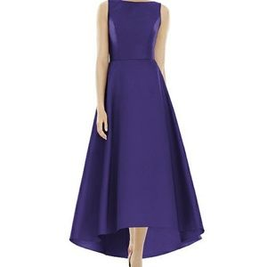 Alfred Sung purple bridesmaid dress